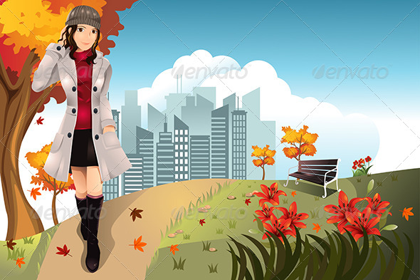 GraphicRiver Autumn Girl 5807672