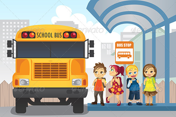 GraphicRiver Children at Bus Stop 5807688