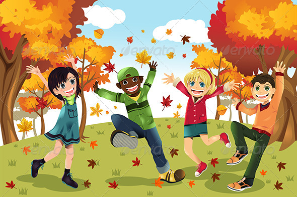 GraphicRiver Autumn Fall Season Kids 5808026