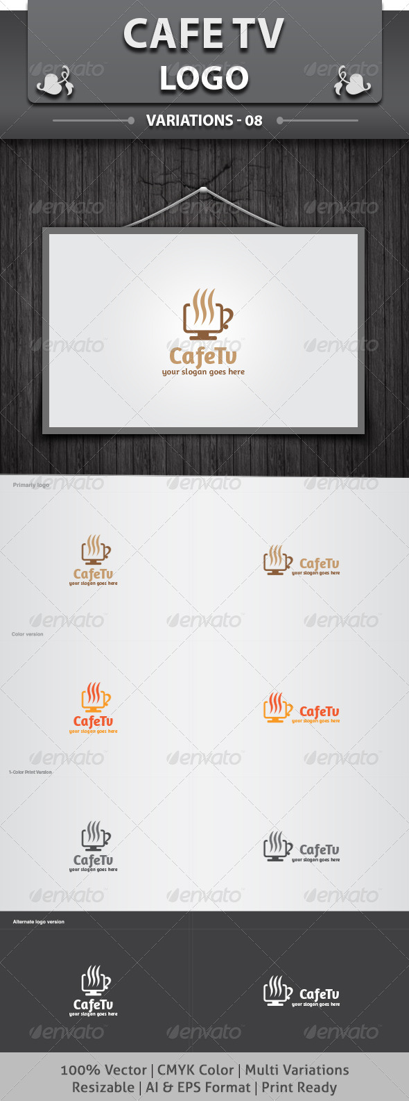 Cafe Tv Logo - Food Logo Templates