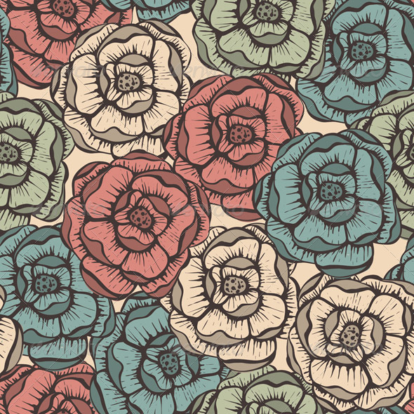 GraphicRiver Vector Seamlesss Floral Pattern 5808354