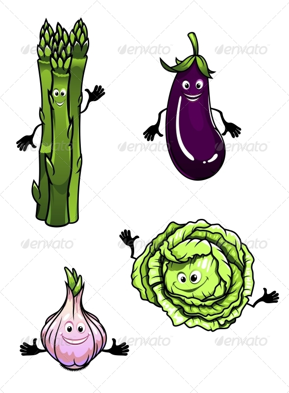 GraphicRiver Cabbage Spinach Eggplant and Garlic 5808363