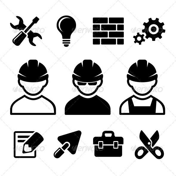 GraphicRiver Industrial Worker Icons Set 5808494