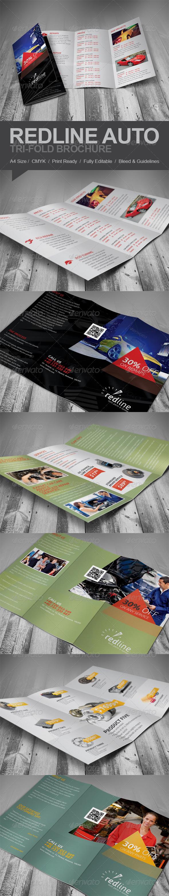 GraphicRiver Redline Auto Tri-fold Brochure 5809238