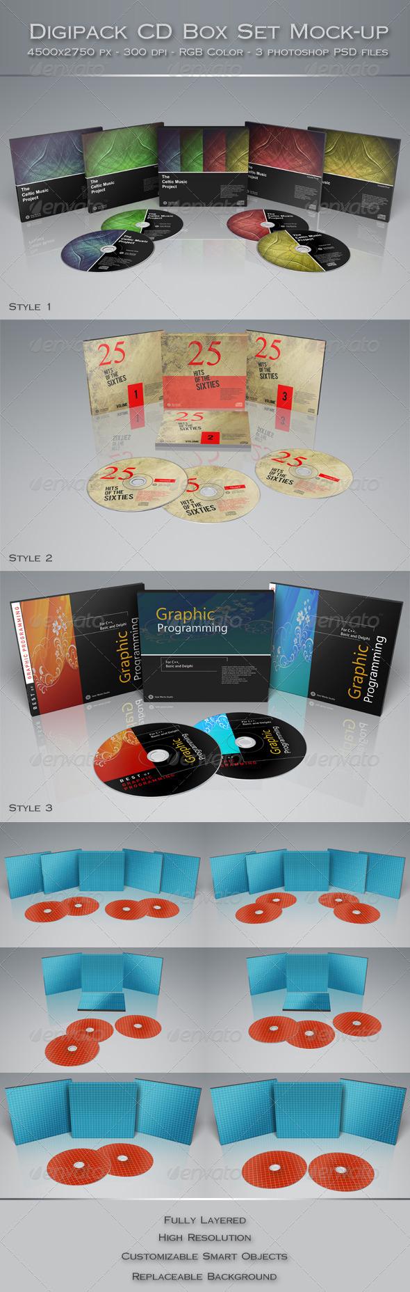 GraphicRiver Digipak CD Box Set Mock-Up 5810431