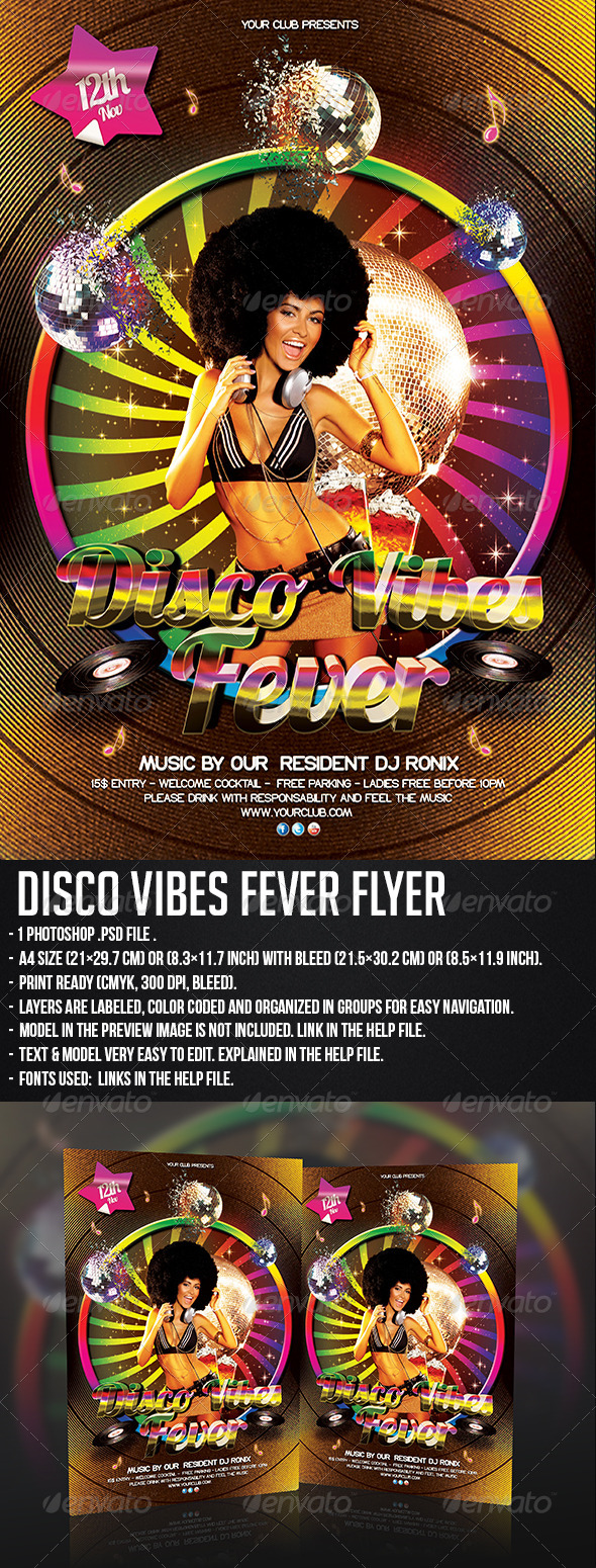 GraphicRiver Disco Vibes Fever Flyer 5811078