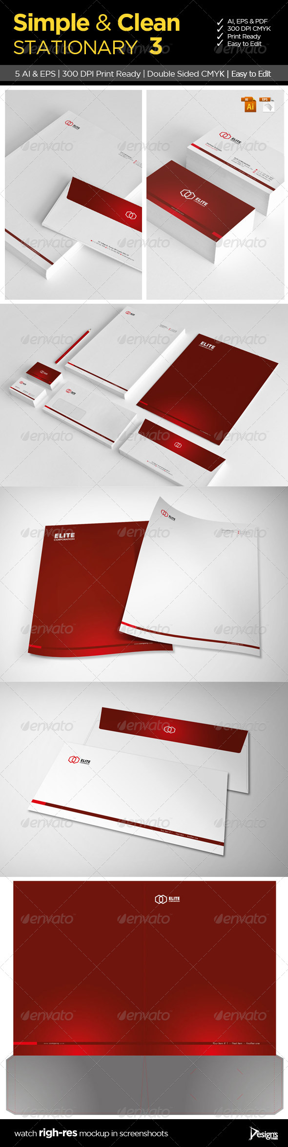 Simple and Clean Stationary 3 - Stationery Print Templates