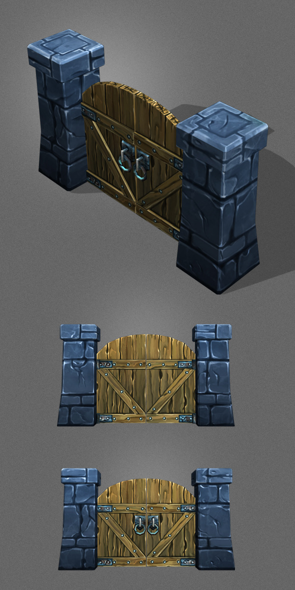 Low Poly wood Door_1 - 3DOcean Item for Sale