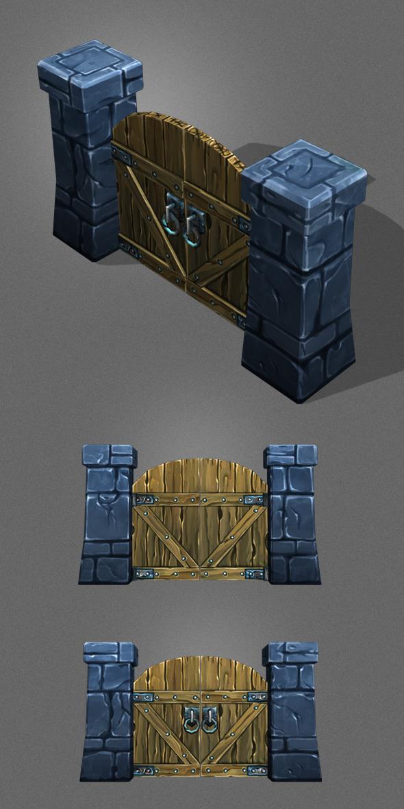 3DOcean Low Poly wood Door 1 5811436