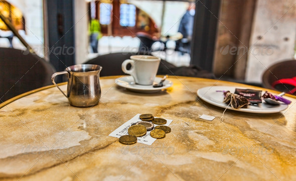 Coins and Bill  - Stock Photo - Images