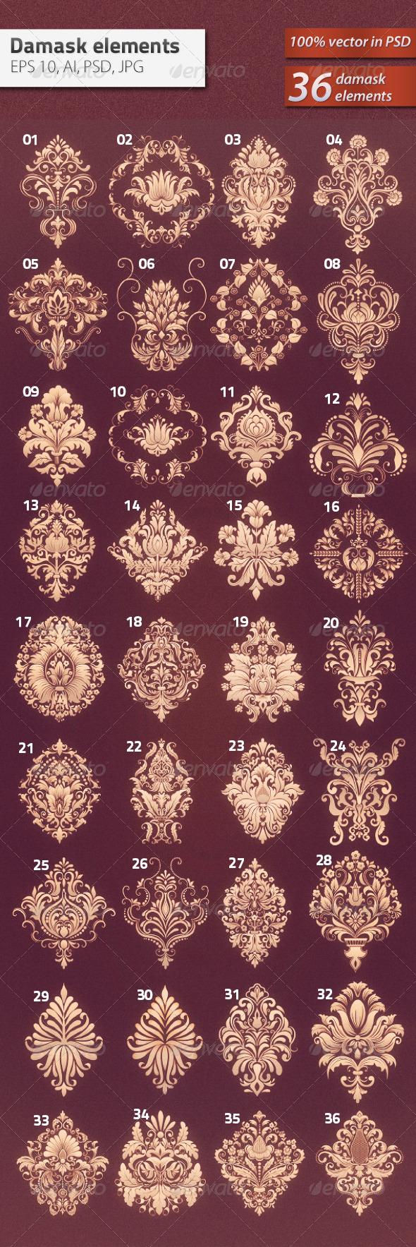 GraphicRiver 36 Damask Ornamental Elements 5802772