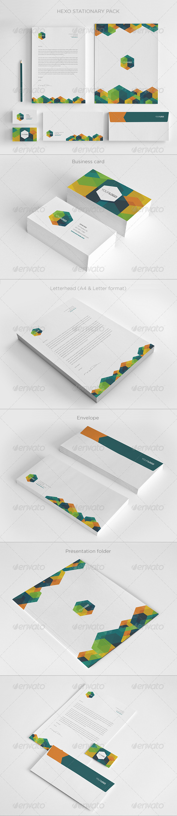 GraphicRiver Modern Hexo Stationary Pack 5812507