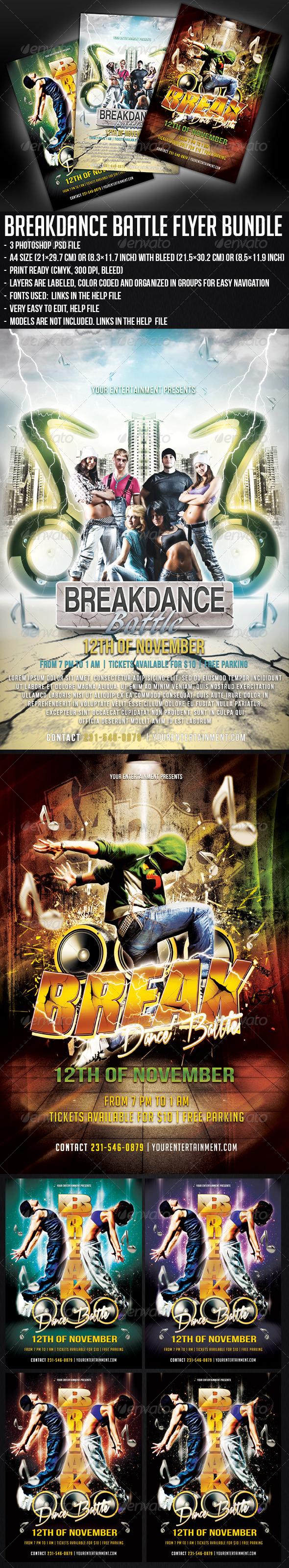 GraphicRiver Breakdance Battle Flyer Bundle 5812810