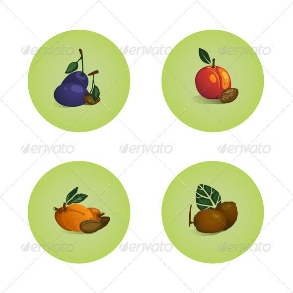 Plum Peach Apricot Kiwi Fruits Icons Set
