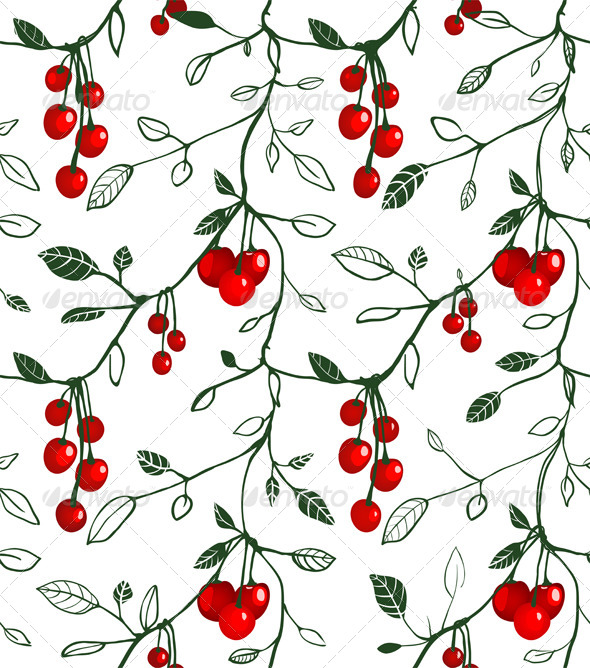 GraphicRiver Cherry Berry Seamless Pattern Illustration 5812869