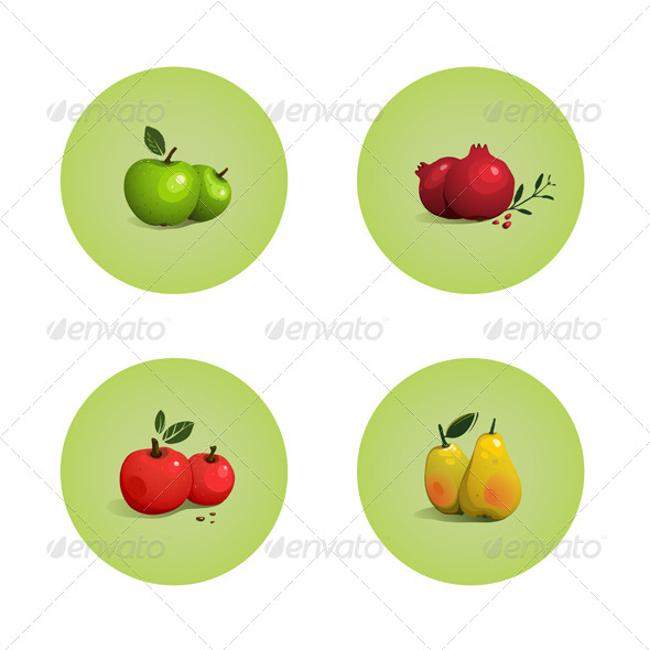 GraphicRiver Green and Red Apple Pomegranate Pear Fruits Set 5812893