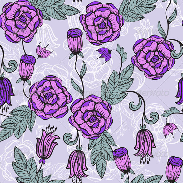 GraphicRiver Vector Seamlesss Floral Pattern 5813116