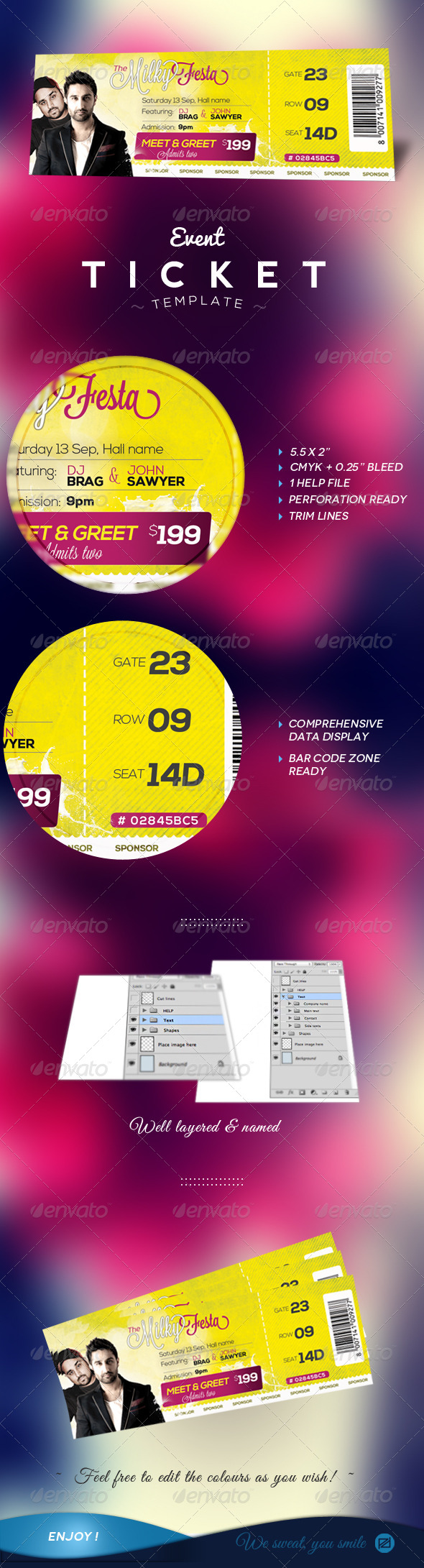 GraphicRiver Event Tickets Template 5813141
