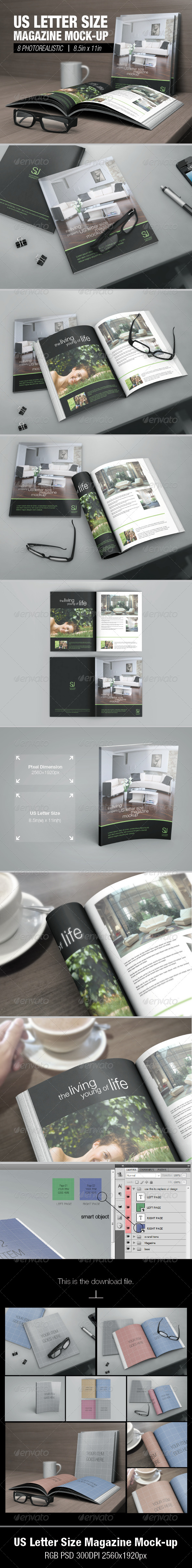 GraphicRiver US Letter Size Magazine Mock-up 5813649