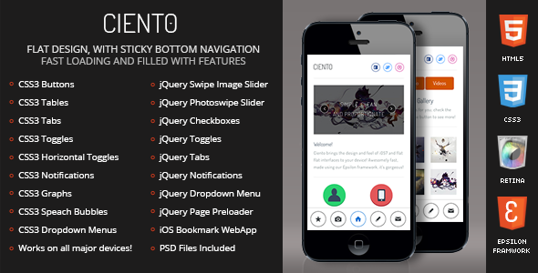 Ciento Mobile Retina | HTML5 & CSS3 And iWebApp
