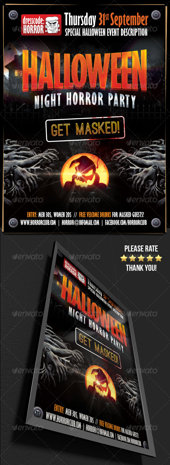 Halloween Night Horror Party Flyer Template
