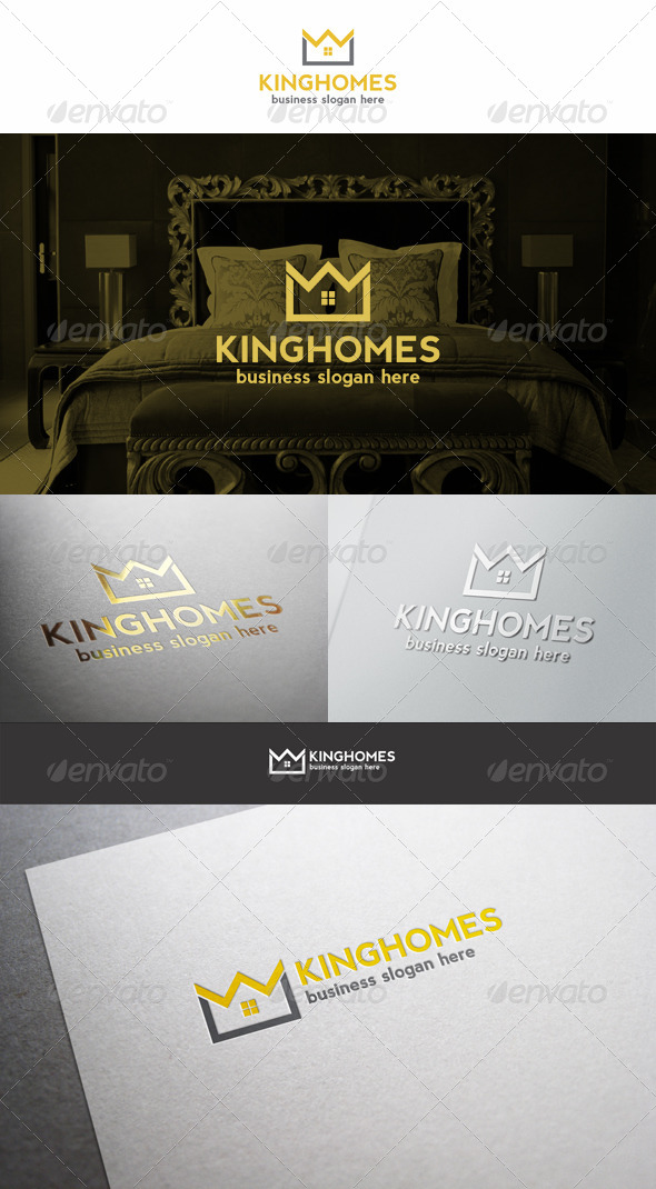 King Homes Estate Logo. Royal Property - Buildings Logo Templates