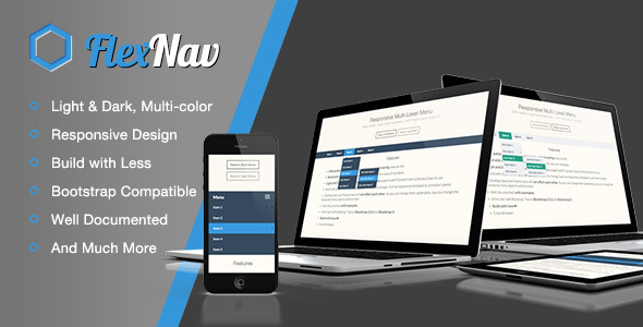 CodeCanyon Flexnav Responsive Multi-colors Slide nav menu 5814747