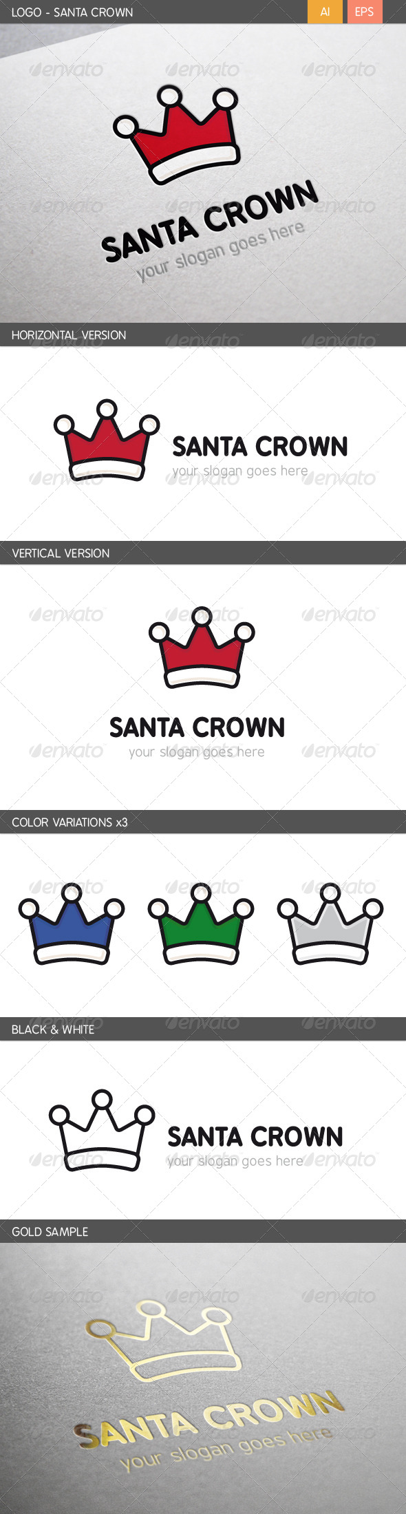 GraphicRiver Santa Crown Logo 5815362