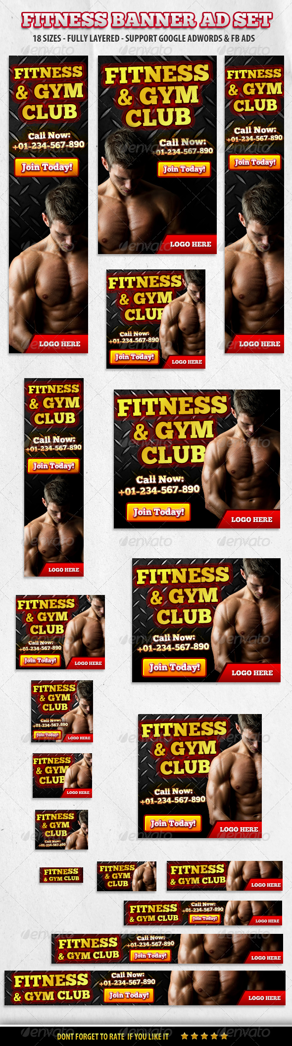 GraphicRiver Fitness & Gym Club Banner ad Set 5815731