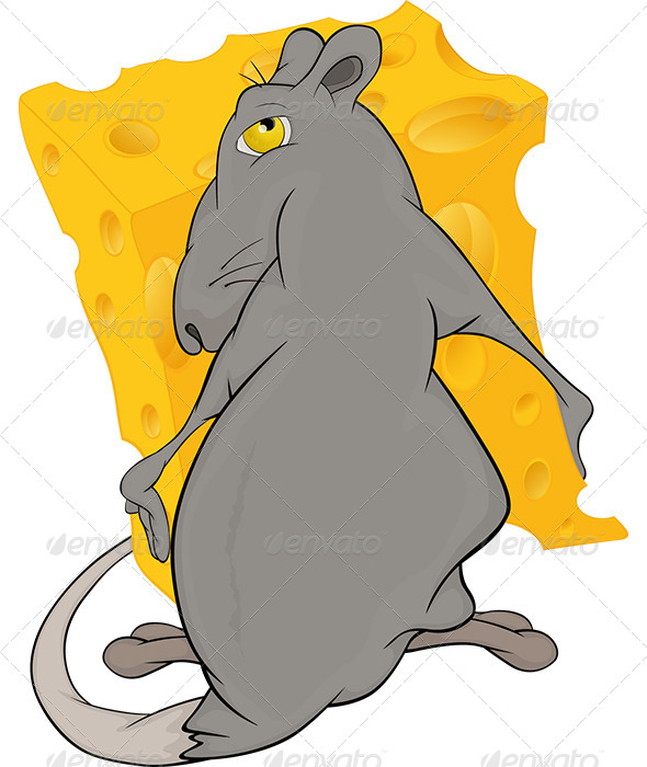 Greedy Rat and Cheese Piece Cartoon