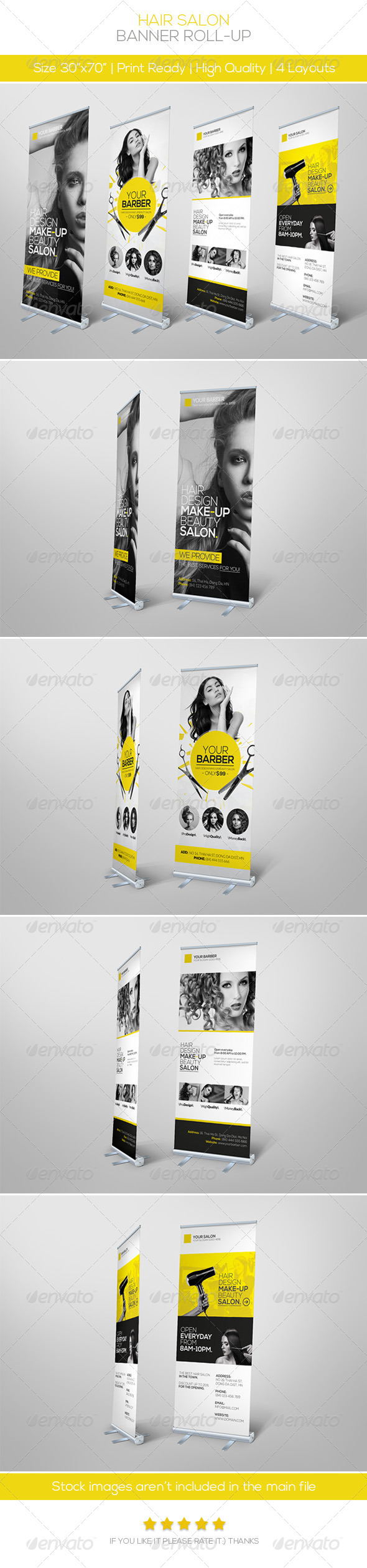 GraphicRiver Premium Hair Salon Roll-up Banner 5815930