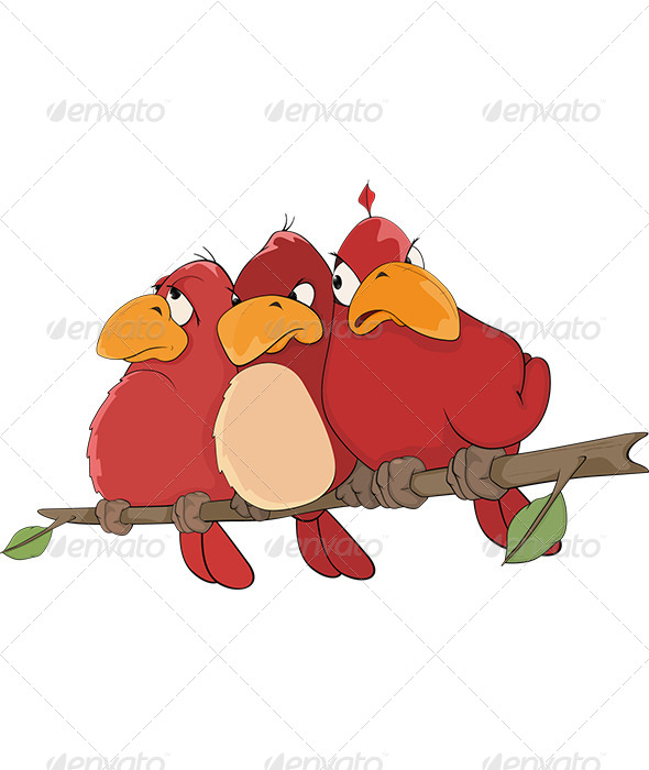 GraphicRiver Red Birds Cartoon 5798252