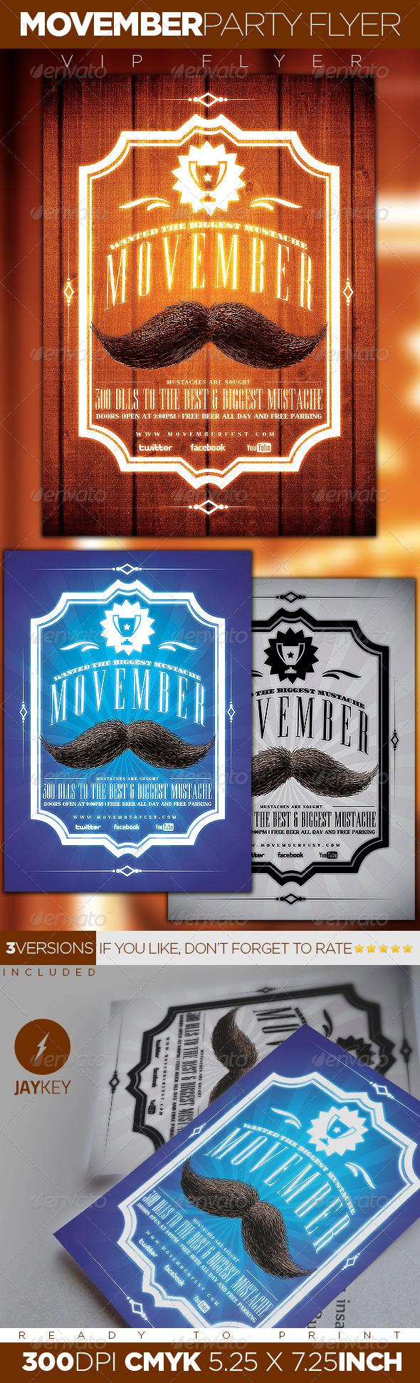 GraphicRiver Movember Party Flyer 5816061