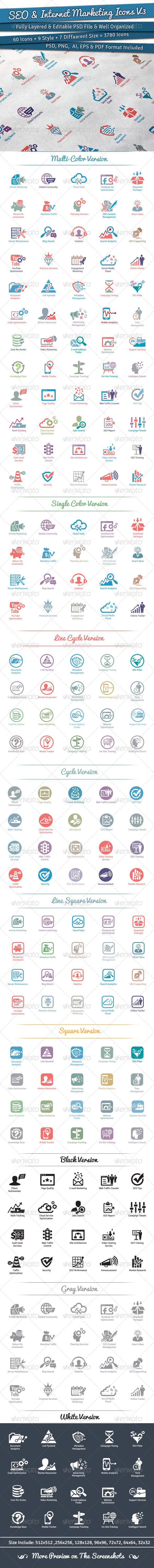 GraphicRiver 60 SEO & Internet Marketing Icons Volume 3 5816096
