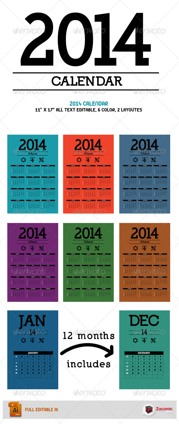 2014 Calendar 6 Colors 2 Layoutes