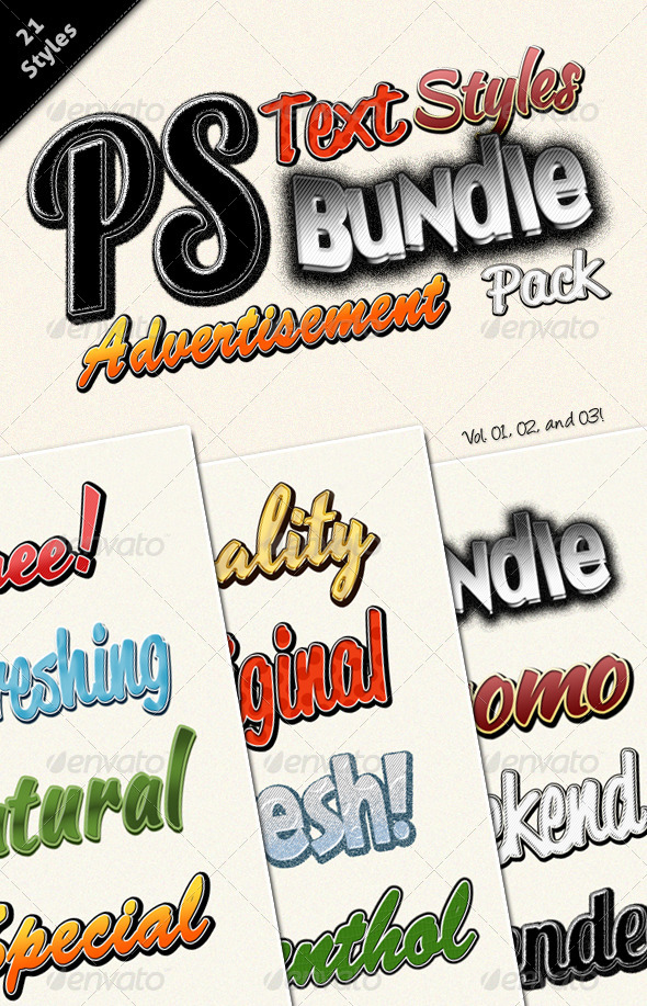 GraphicRiver Photoshop Text Styles Bundle Advertisement Pack 5816478