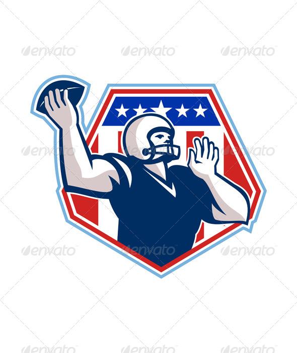 GraphicRiver American Football Quarterback Shield 5816590