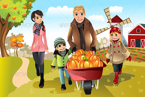 GraphicRiver Family at Pumpkin Patch 5816680