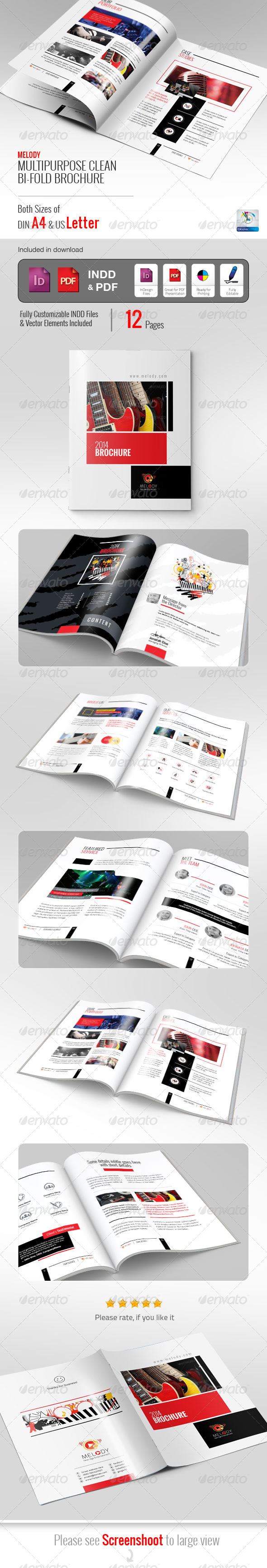 GraphicRiver Melody Clean Bifold Brochure 5816693