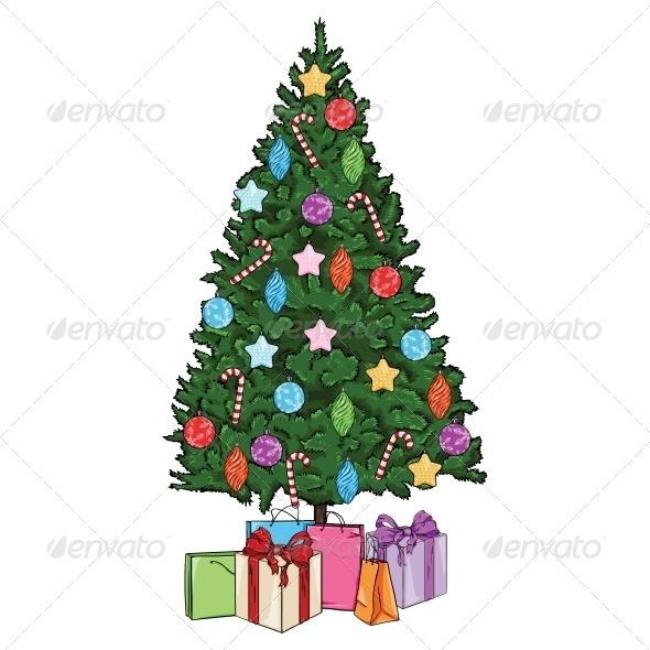 Vector Cartoon Christmas Tree with Decorations - Christmas Seasons ...