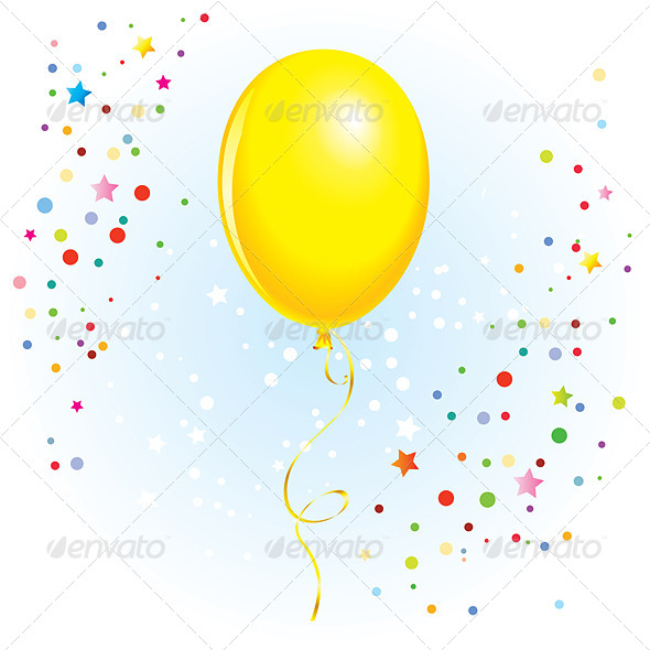 GraphicRiver Balloon with Dangling Curly Ribbon 5816848
