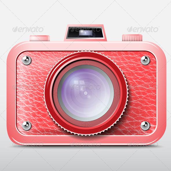 GraphicRiver Red Retro Photo Camera Icon 5816861