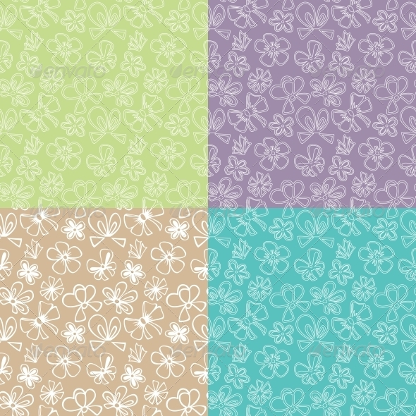 GraphicRiver Seamless Patterns with Ribbon 5816978
