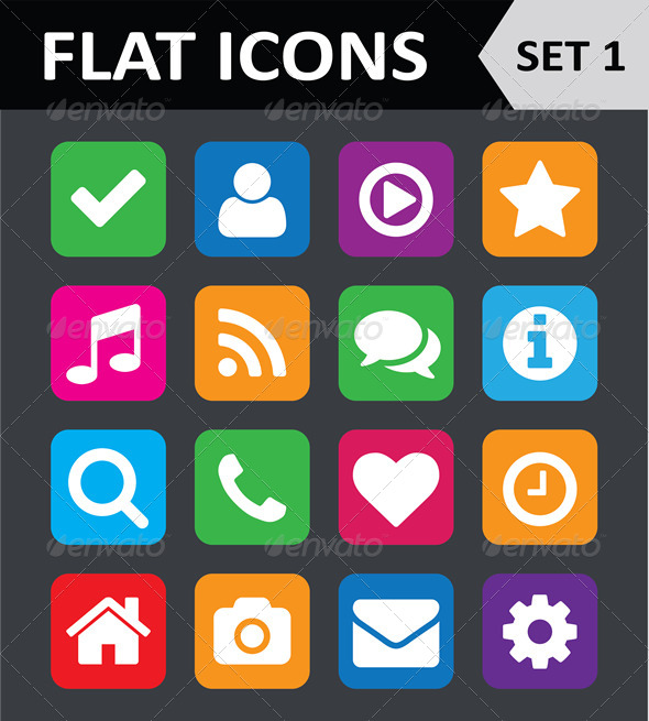 GraphicRiver Universal Colorful Flat Icons Set 1 5816994