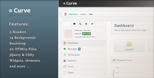 ThemeForest Curve Admin Template 5817114