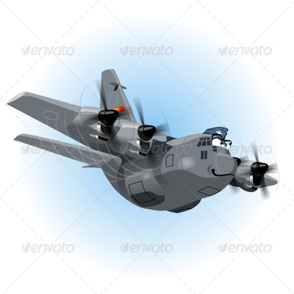 GraphicRiver Vector Cartoon Cargo Airplane 5817194