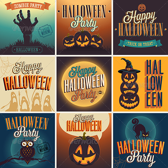 GraphicRiver Halloween Posters Set 5817276