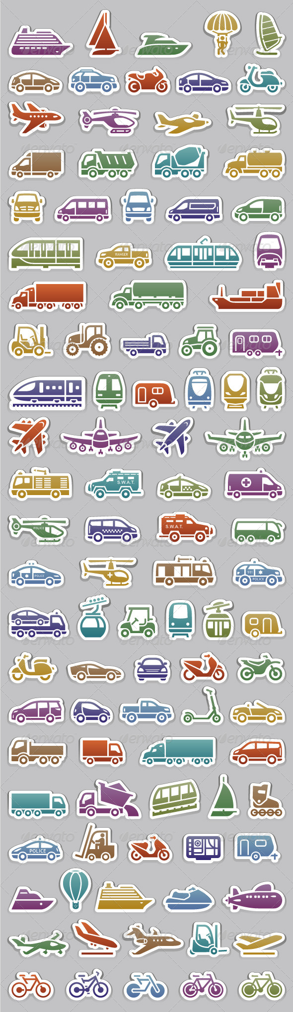 104 Transport icons set retro colors