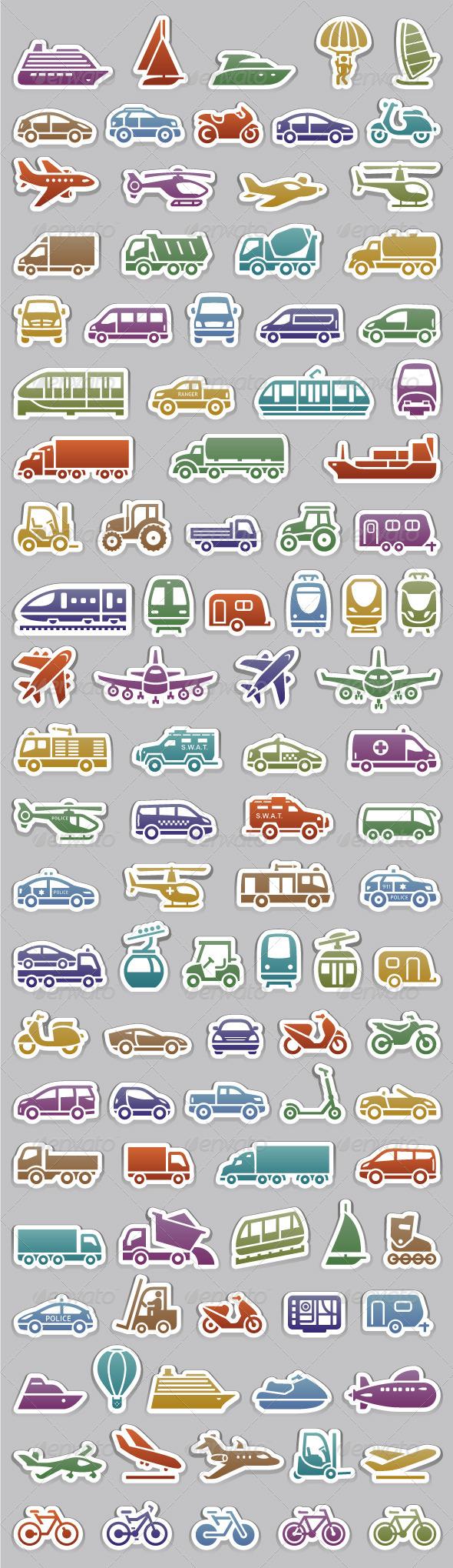GraphicRiver 104 Transport icons set retro colors 5817291