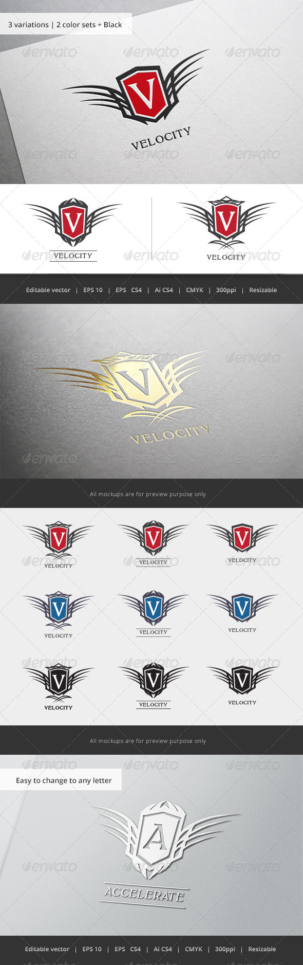 GraphicRiver Velocity Tribal Letter Crest 5812298